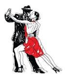 Сделанные эскиз к танцоры танго Стоковая Фотография RF