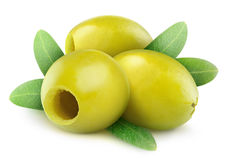 Сделанные ямки зеленые оливки Стоковое фото RF