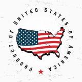 Сделанный в векторе вензеля США Винтажный дизайн логотипа Америки Ретро Соединенные Штаты герметизируют Стоковое Изображение RF
