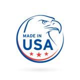 Сделанный в значке США с американской эмблемой орла также вектор иллюстрации притяжки corel Стоковые Фотографии RF