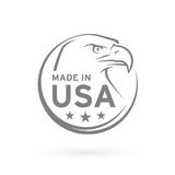 Сделанный в значке США с американской эмблемой орла также вектор иллюстрации притяжки corel Стоковая Фотография