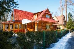 Сделанный из деревянного жилого дома в Zakopane Стоковое Фото