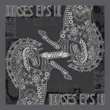 Сделанный по образцу силуэт лошади на черно-белом запятнанном b Стоковые Изображения
