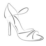 Сделанный эскиз к ботинок женщины s Стоковое Изображение RF