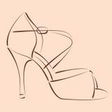 Сделанный эскиз к ботинок женщины s Стоковые Фото
