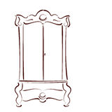 Сделанный эскиз к винтажный шкаф Стоковые Фото