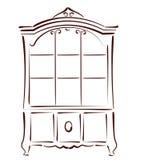 Сделанный эскиз к винтажный bookcase Стоковое Изображение RF