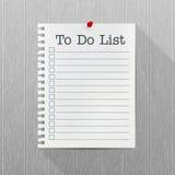 Сделать модель-макет вектора списка Лист бумаги с смертной казнью через повешение штыря на серой деревянной стене пусто опорожнит иллюстрация штока