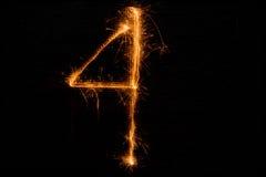 4 сделал бенгальских огней на черноте Стоковая Фотография RF