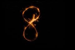 8 сделал бенгальских огней на черноте Стоковое фото RF