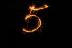 5 сделал бенгальских огней на черноте Стоковые Изображения RF