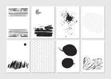 Сделал вектором творческой комплект карточки шаблона очарования моды нарисованный рукой Vector собрание черноты, белые текстуриро Стоковое фото RF