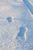2 следа ноги в снеге Стоковые Изображения
