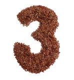 3 сделал с льняным семенем также как изолированное льняное семя Стоковые Изображения