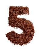 5 сделал с льняным семенем также как изолированное льняное семя Стоковые Изображения
