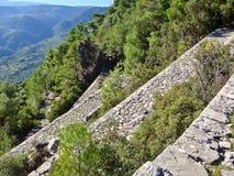 След вымощенный камнем в Греции Стоковое Фото