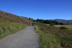 След в парке Thingvellir в Исландии Стоковые Фото