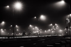 След города ночи освещает черно-белое Стоковые Фотографии RF