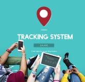 След навигации маршрутной карты устанавливает концепцию Стоковые Изображения
