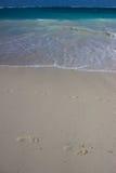 След ноги на пляже Стоковая Фотография