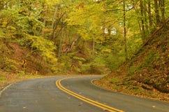 Следовать кривой в дороге в осени стоковое фото rf