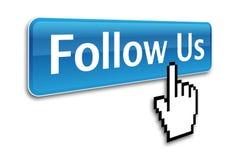 Следовать нами кнопка Стоковое Изображение