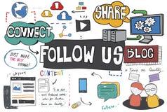 Следовать нами следующий соединяет нас социальная концепция средств массовой информации иллюстрация штока