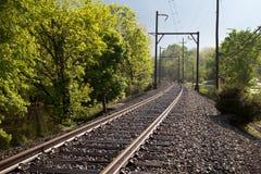 след поля глубины железнодорожный отмелый Стоковые Фото