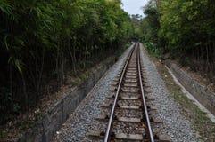 след поля глубины железнодорожный отмелый Стоковые Изображения