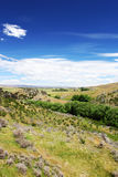 След рельса Otago центральный, высокое плато, Новая Зеландия Стоковые Фото