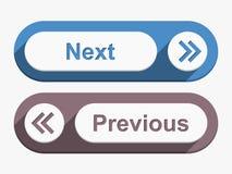 Следующие и предыдущие кнопки Стоковые Изображения RF