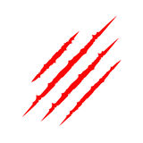 След царапины царапины красных кровопролитных когтей животный Печать лапки кота Трассировка 4 ногтей Смешной элемент дизайна плос Стоковые Изображения RF
