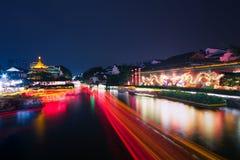 След шлюпок на реке Qinghuai Стоковое фото RF