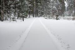 Следы автошины автомобиля на дороге зимы Стоковое Изображение RF