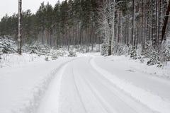 Следы автошины автомобиля на дороге зимы Стоковые Изображения