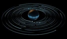 Следы и планета двигая по орбите света Стоковые Изображения RF