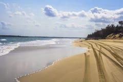 следы 4x4 на пляже Стоковое Фото