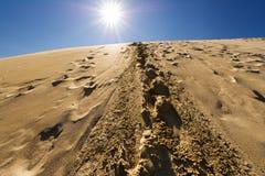 Следы ноги в песчанных дюнах, Сахаре, Марокко Стоковые Изображения RF