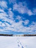 Следы ноги в снежке Стоковое фото RF