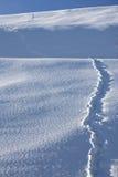 Следы ноги в снежном ландшафте Стоковые Изображения