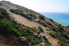 Следы ноги динозавра в Cabo Espichel, Португалии Стоковая Фотография