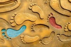 Следы ноги на металле Стоковое Изображение