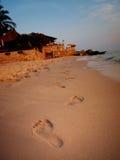 Следы ноги на пляже Стоковое Фото