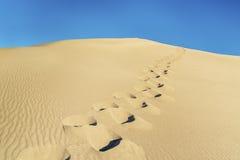 Следы ноги человека на песчанной дюне Стоковые Фотографии RF