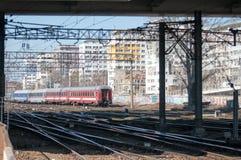 Следы поезда в городе Стоковое фото RF