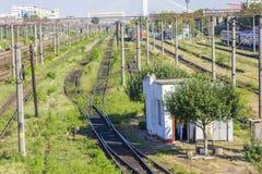Следы поезда в депо Стоковая Фотография