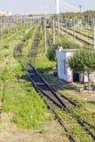 Следы поезда в депо Стоковая Фотография RF