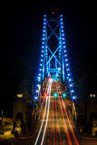 Следы света на мосте Стоковое Фото