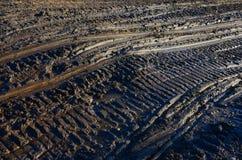 Следы снегохода в грязи Стоковая Фотография RF