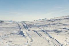 Следы лыжи в горах стоковые фото